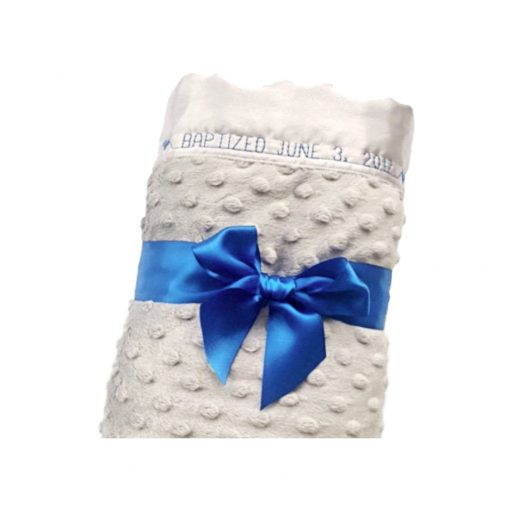 Minty blanket wrapped in blue ribbon