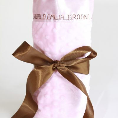 Lovey Size Minky Dot Satin Back Personalized Baby Blanket | Lovey size minky dot baby blanket