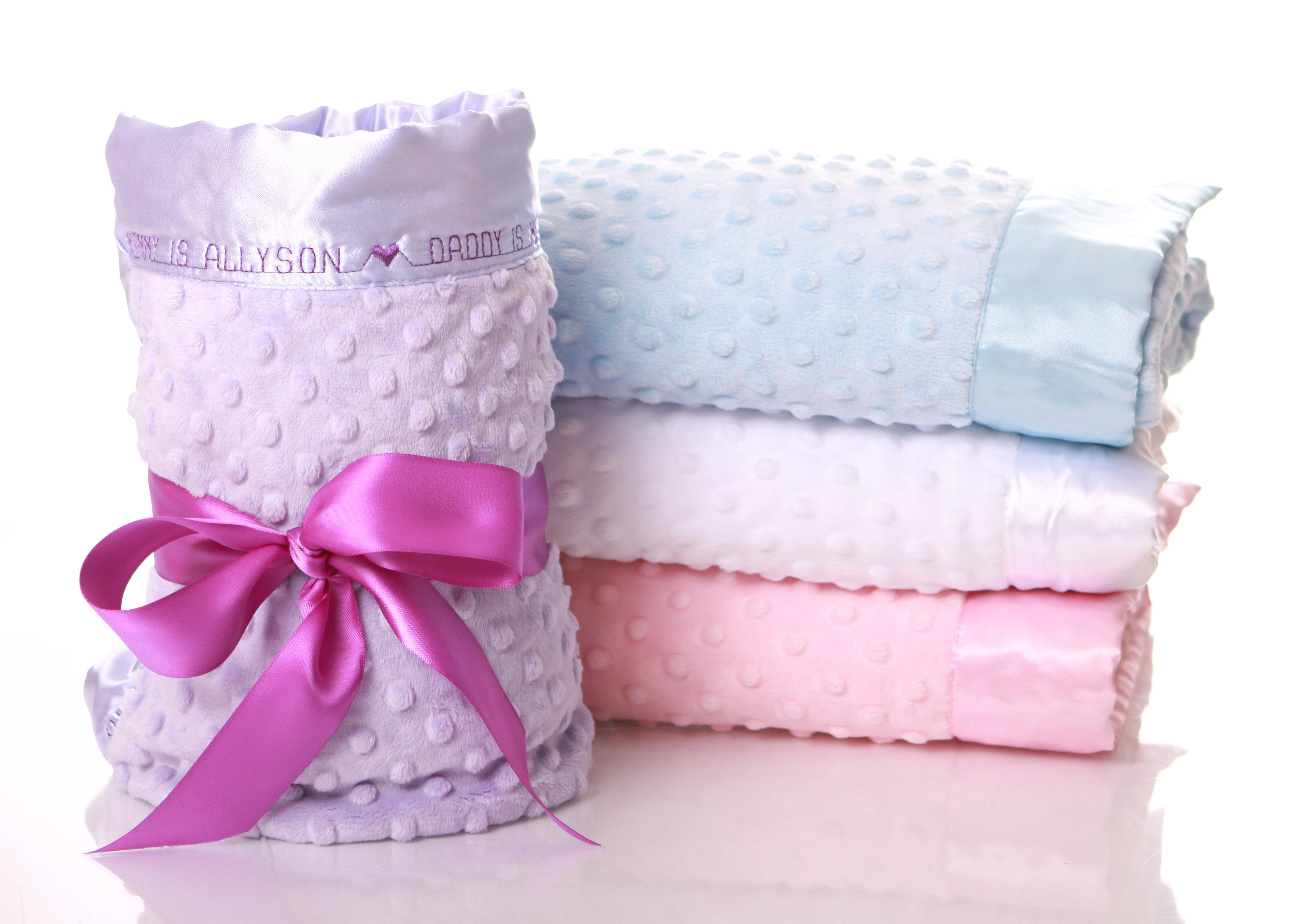 Personalized Baby Blanket Adoption Minky Dot