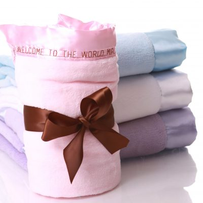 plush embroidered baby story blanket
