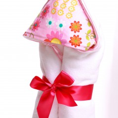 newborn hooded towel pink daisy dance