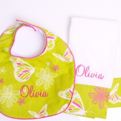 bib and burp cloth set in butterfly print