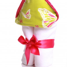 newborn hooded towel in lime butterfly print