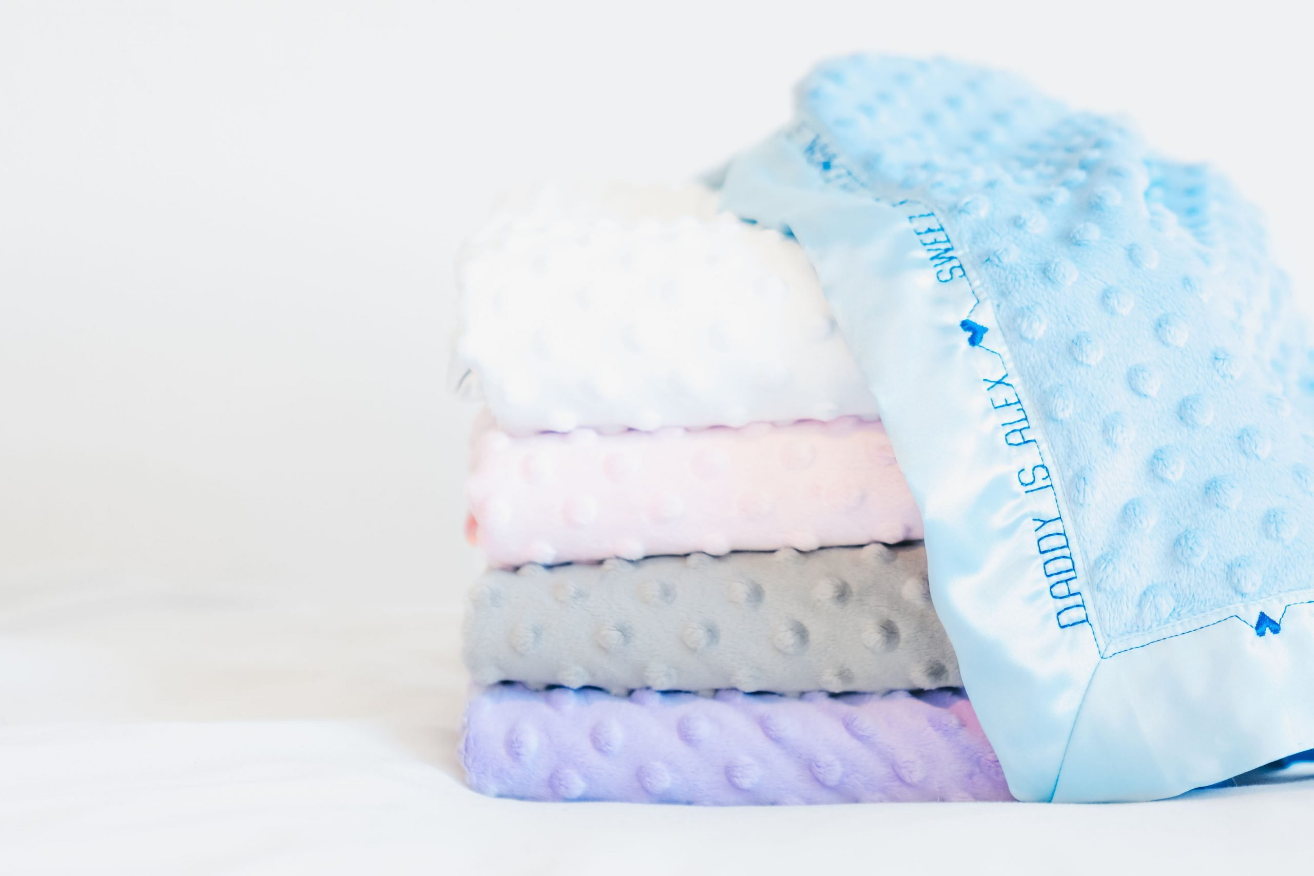 minky stack with blue stitched
