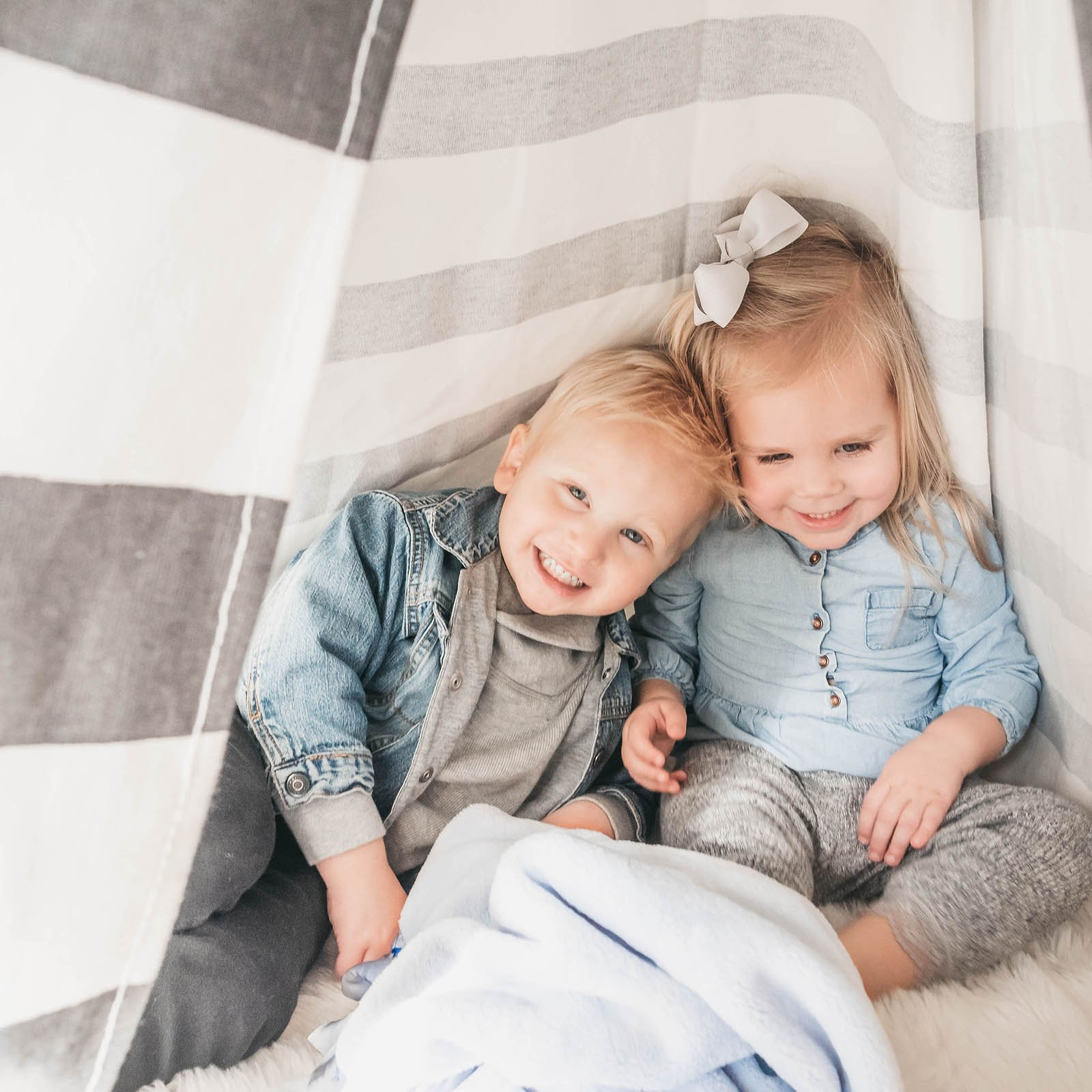 personalized baby blanket with siblings birth info